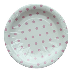 Polka Dot Plates, White with Pink