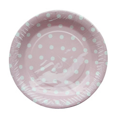 Polka Dot Plates, Pink with White