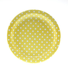 Polka Dot Plates, Yellow with White