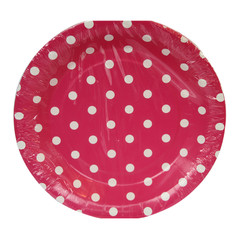 Polka Dot Plates, Hot Pink with White