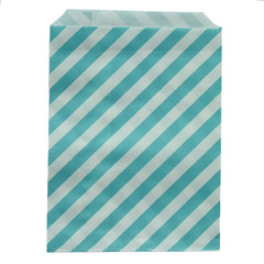 Treat Bag, Aqua Diagonal Stripes