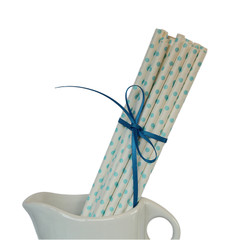 Paper Straws, White with Blue Polka Dot