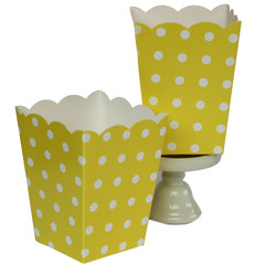 Popcorn Box, Yellow Polka Dots