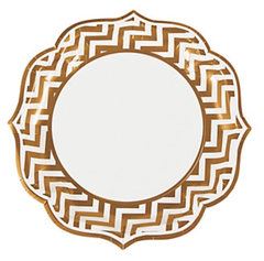 Gold Chevron Dinner Plates
