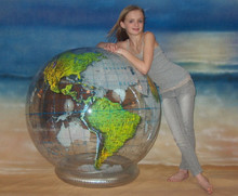 "54"" Inflatable Earth Globe CLEAR Heavy Duty"