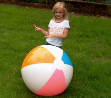 "36"" 4 Color Beach Ball - Aqua, Orange, Pink & White"