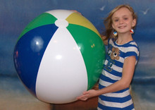 "36"" 4 Color Beach Ball - 2 Green Panels"