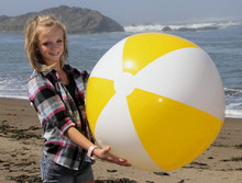 "36"" 2 Color Yellow & White Beach Ball"
