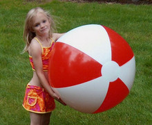 "36"" 2 Color Red & White Beach Ball"