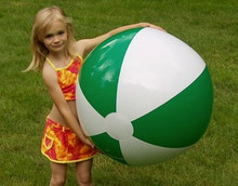 "36"" 2 Color Green & White Beach Ball"