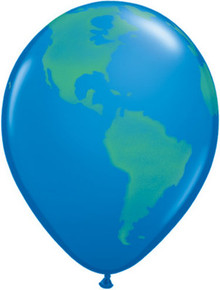 "11"" Earth Globe Balloon - Latex - 10 PACK!"