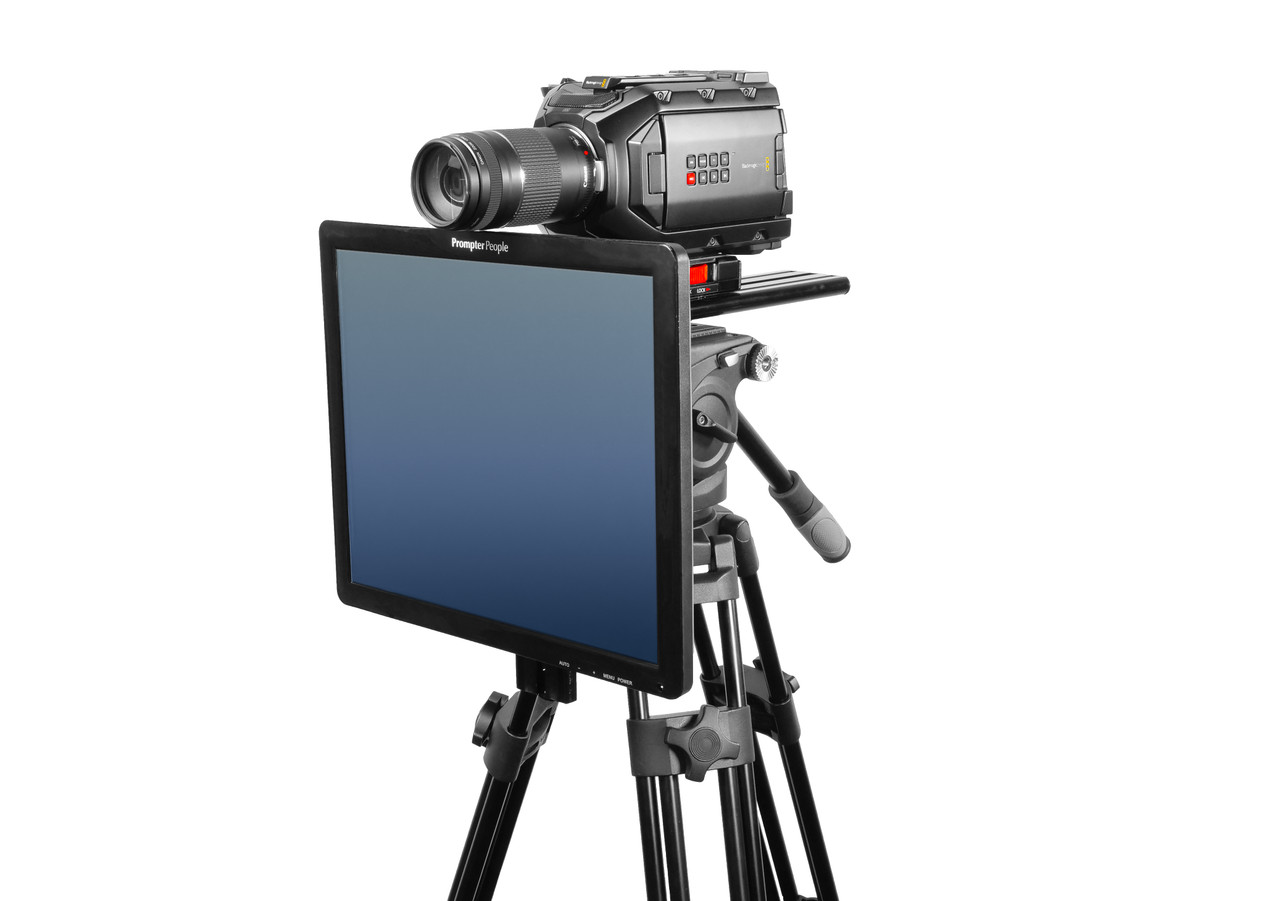 Undercamera 17 Teleprompter - PrompterPeople with Freesoftware - Side Angled