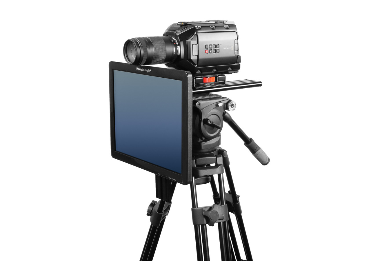 Undercamera 15 Teleprompter - PrompterPeople with Freesoftware - Side Angled