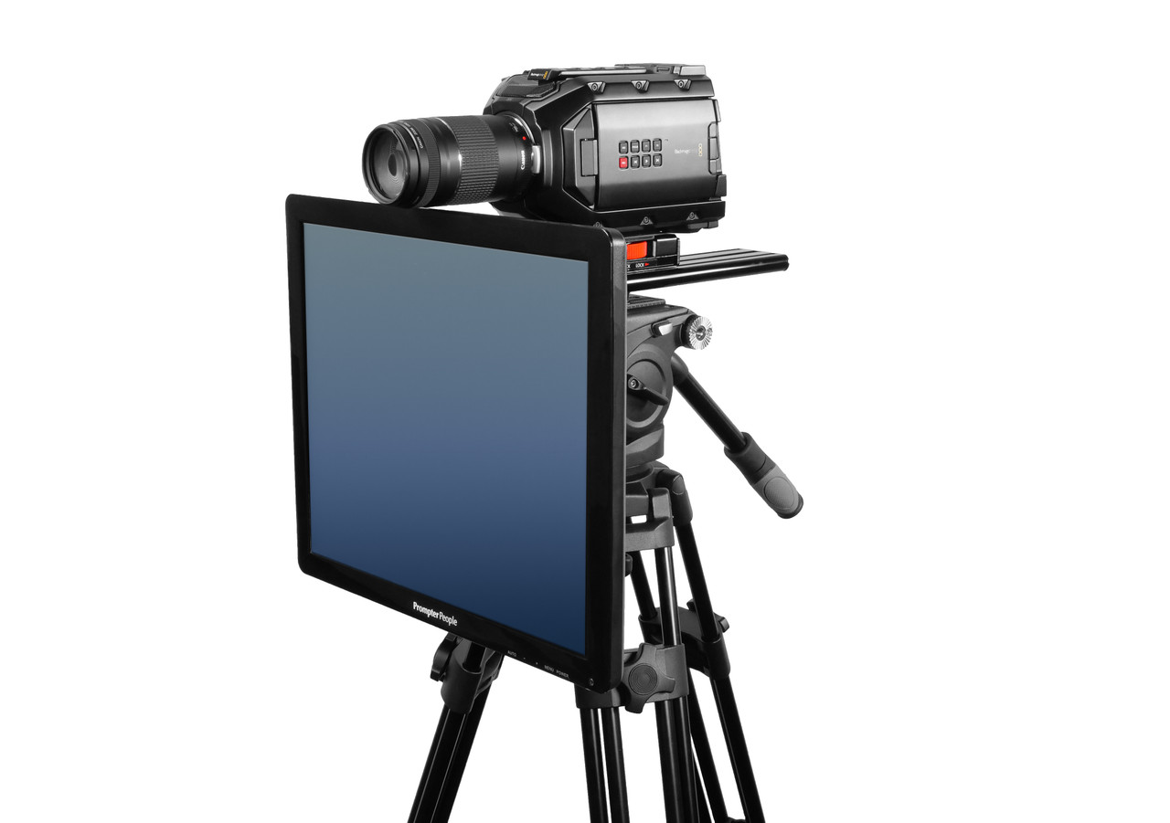 Undercamera 19 Teleprompter - PrompterPeople with Freesoftware - Side Angled