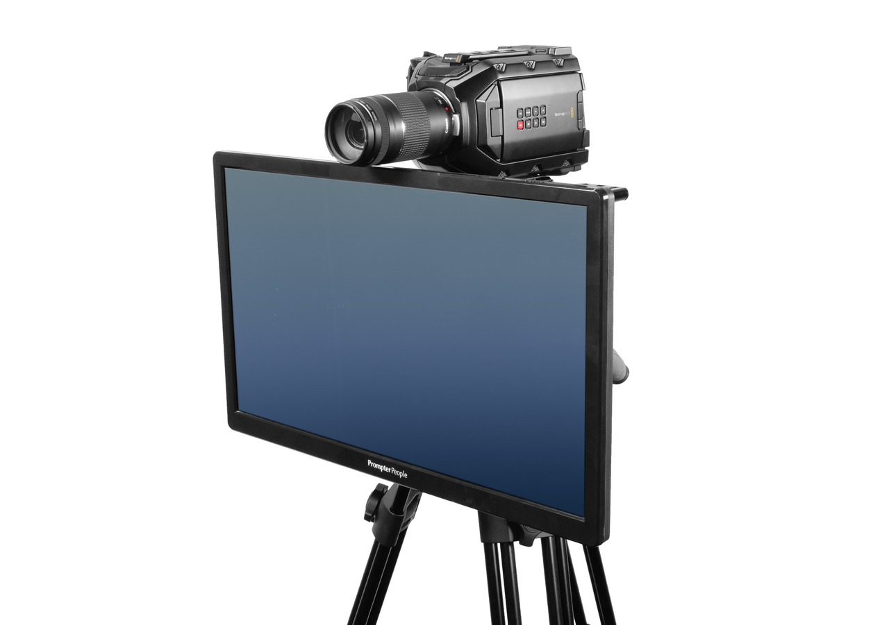 Undercamera 24 Teleprompter - PrompterPeople with Freesoftware - Side Angled