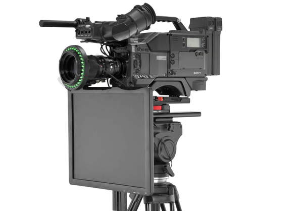 Undercamera Teleprompter - PrompterPeople with Freesoftware - Side Angled