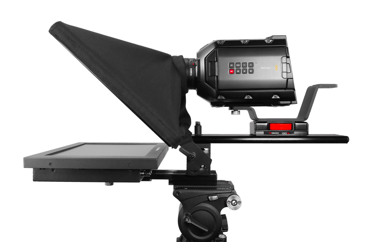 """UltraFlex 12 Inch iPad Pro, HighBright 1000 NIT Monitor, and Free Teleprompter Software - Pictured with HighBright 12"""" Monitor - Side"""
