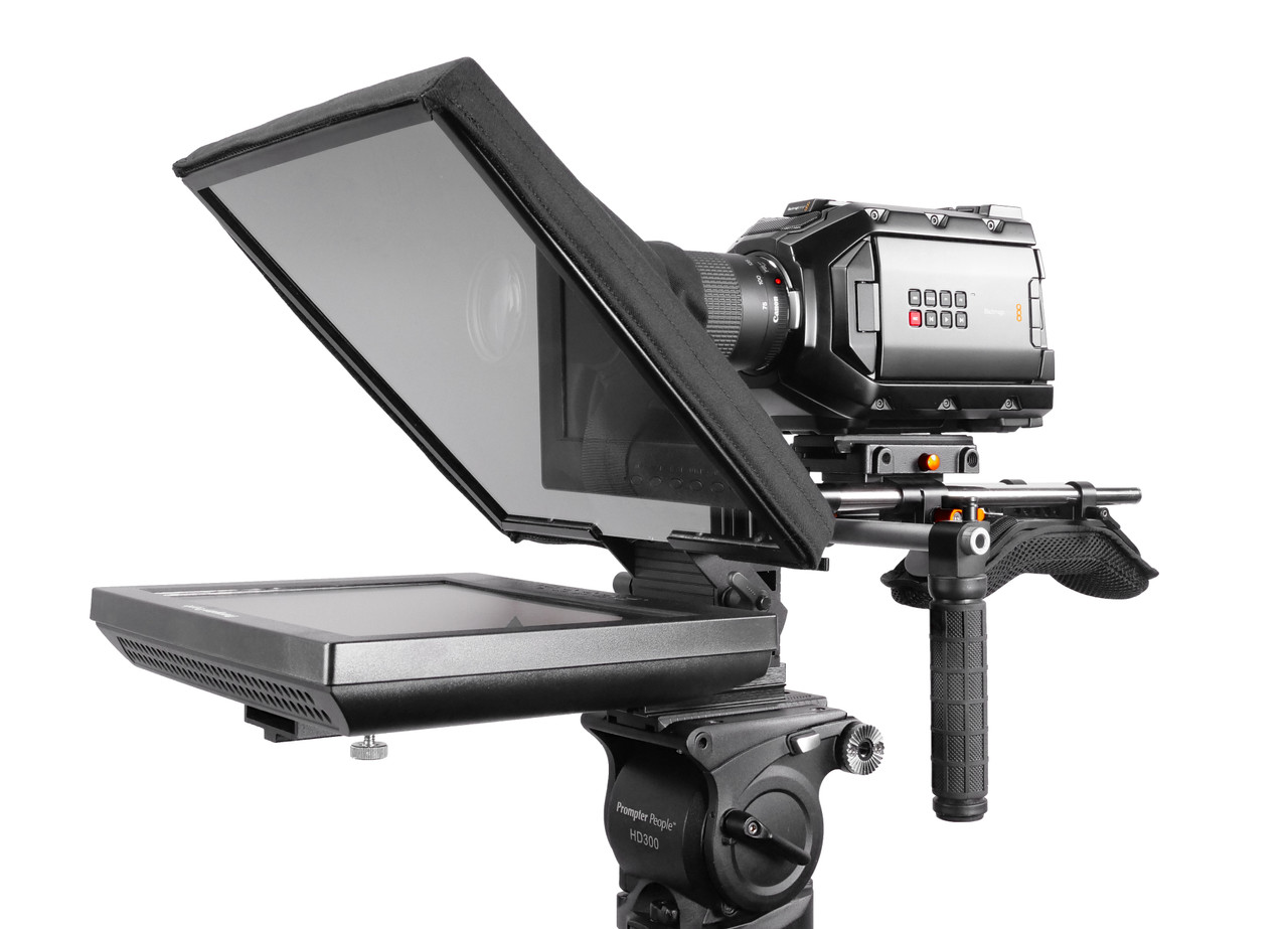 UltraFlex-12 15mm Rail-Mount Monitor Teleprompter with Free Prompting Software - Angled