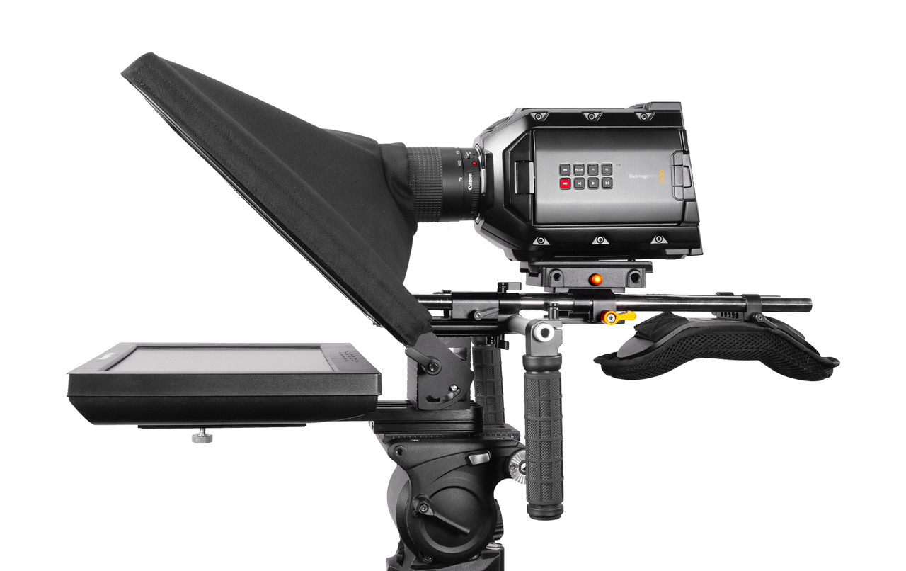 UltraFlex-12 15mm Rail-Mount Monitor Teleprompter with Free Prompting Software - Side