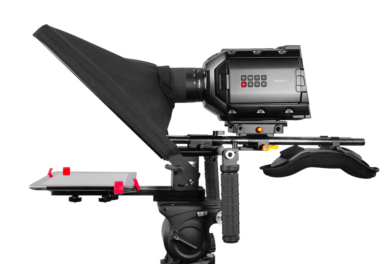 UltraFlex-12 15mm Rail-Mount iPad Teleprompter Model - Side