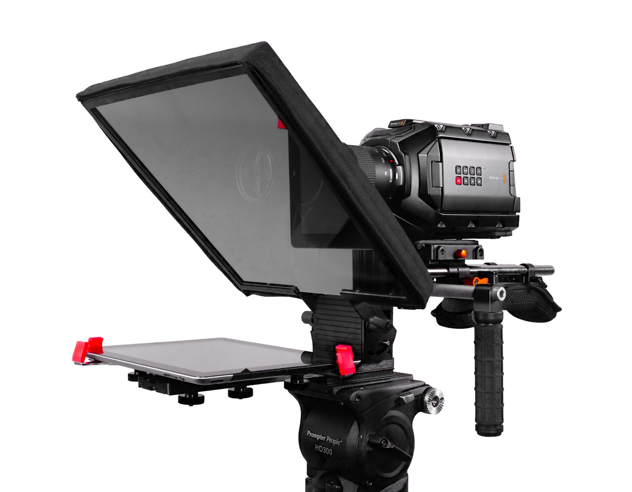 UltraFlex-12 15mm Rail-Mount iPad Teleprompter Model - Angled