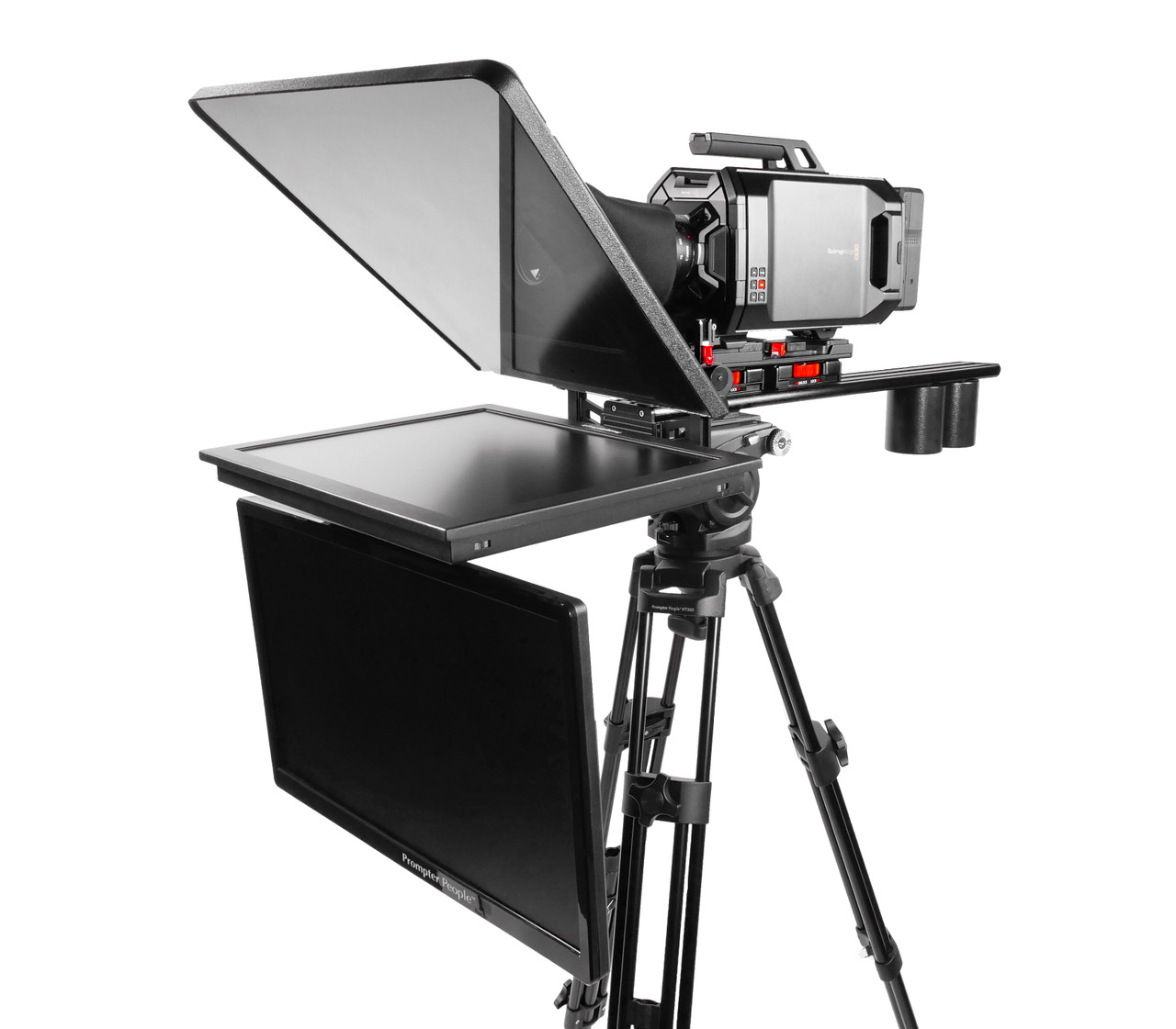 Assembled Teleprompter, Long Sled, and Talent Monitor with 2 Counterweight