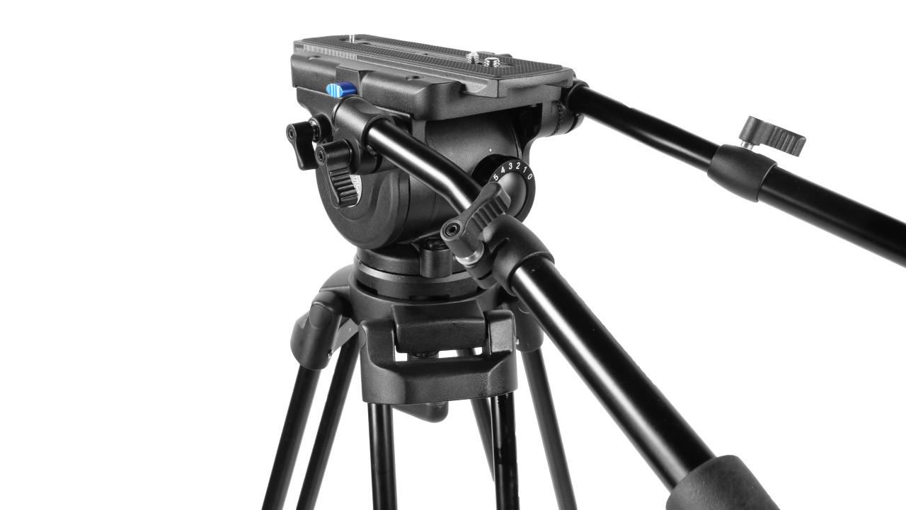 PrompterPeople Heavy Duty Tripod HD-500 50 LB Tripod HEAD Angled Back