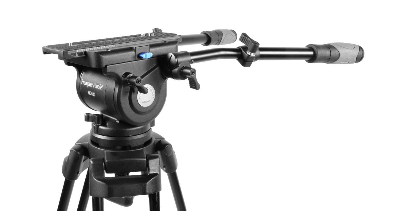 PrompterPeople Heavy Duty Tripod HD-500 50 LB Tripod HEAD Angled Side