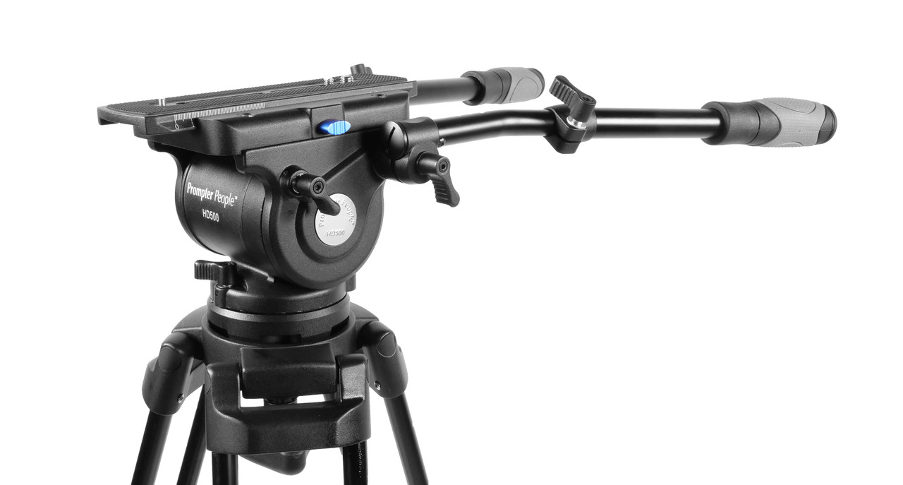 PrompterPeople Heavy Duty Tripod HD-500 50 LB Tripod HEAD Angled Side
