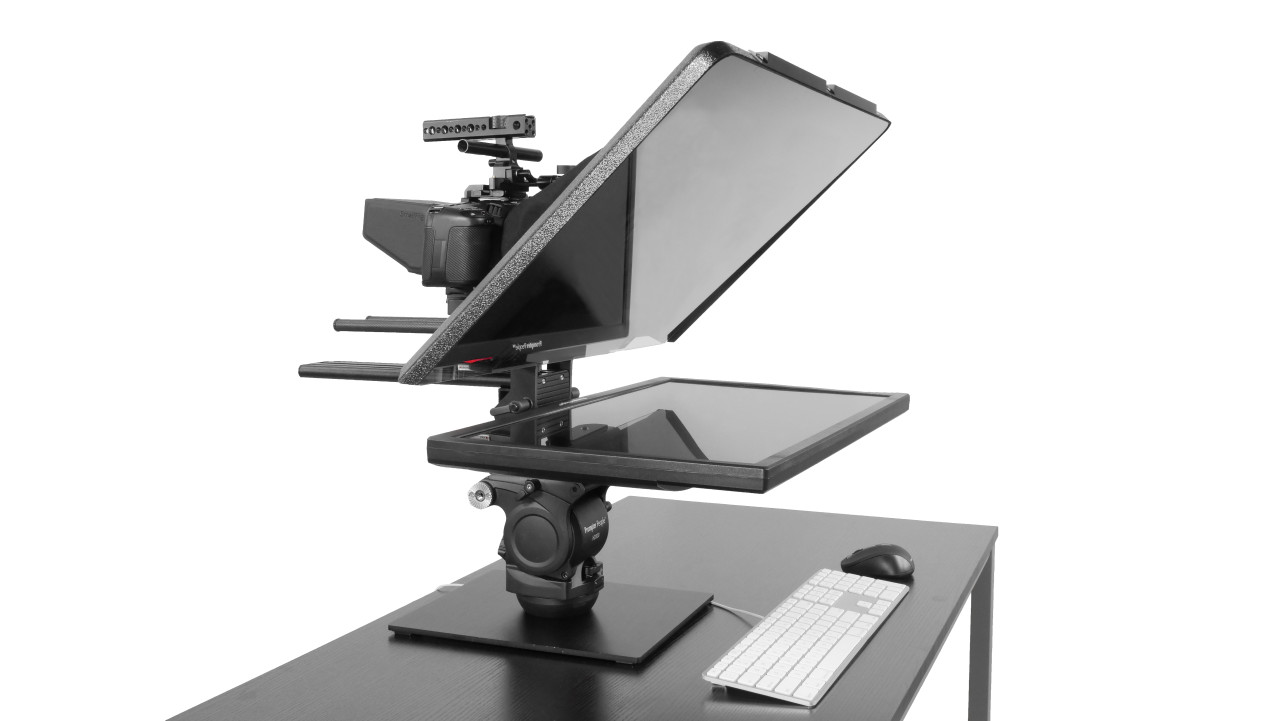 Flex Plus Desktop Teleprompter for Distance Learning, Social Distancing Interviews, Work-At-Home Professionals, Live Streams in home Office, Remote Video Sales and Support - Front