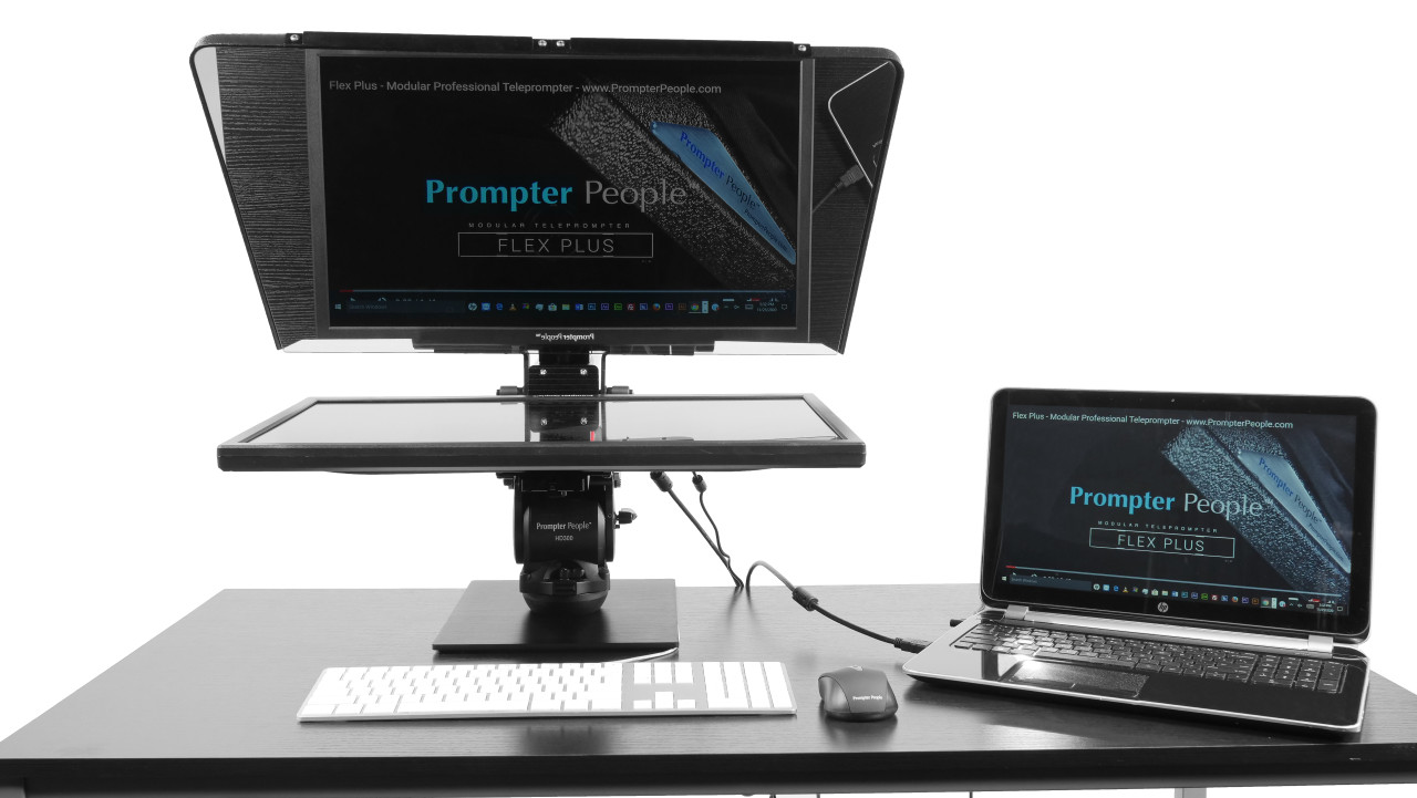 Flex Plus Desktop Teleprompter for Distance Learning, Social Distancing Interviews, Work-At-Home Professionals, Live Streams in home Office, Remote Video Sales and Support - with Laptop Face