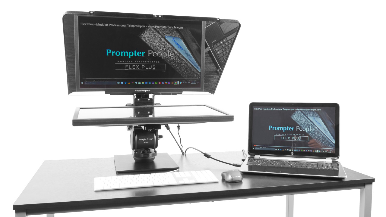 Flex Plus Desktop Teleprompter for Distance Learning, Social Distancing Interviews, Work-At-Home Professionals, Live Streams in home Office, Remote Video Sales and Support - with Laptop Side