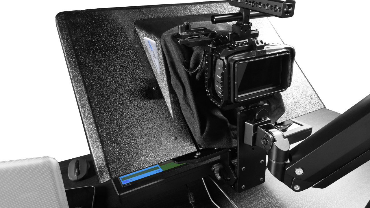 "Desktop Arm Model Teleprompter Flex Plus 24"" Screen PrompterPeople Setup Back Setup Camera - Free Fly Desktop Office, work from home Teleprompter"