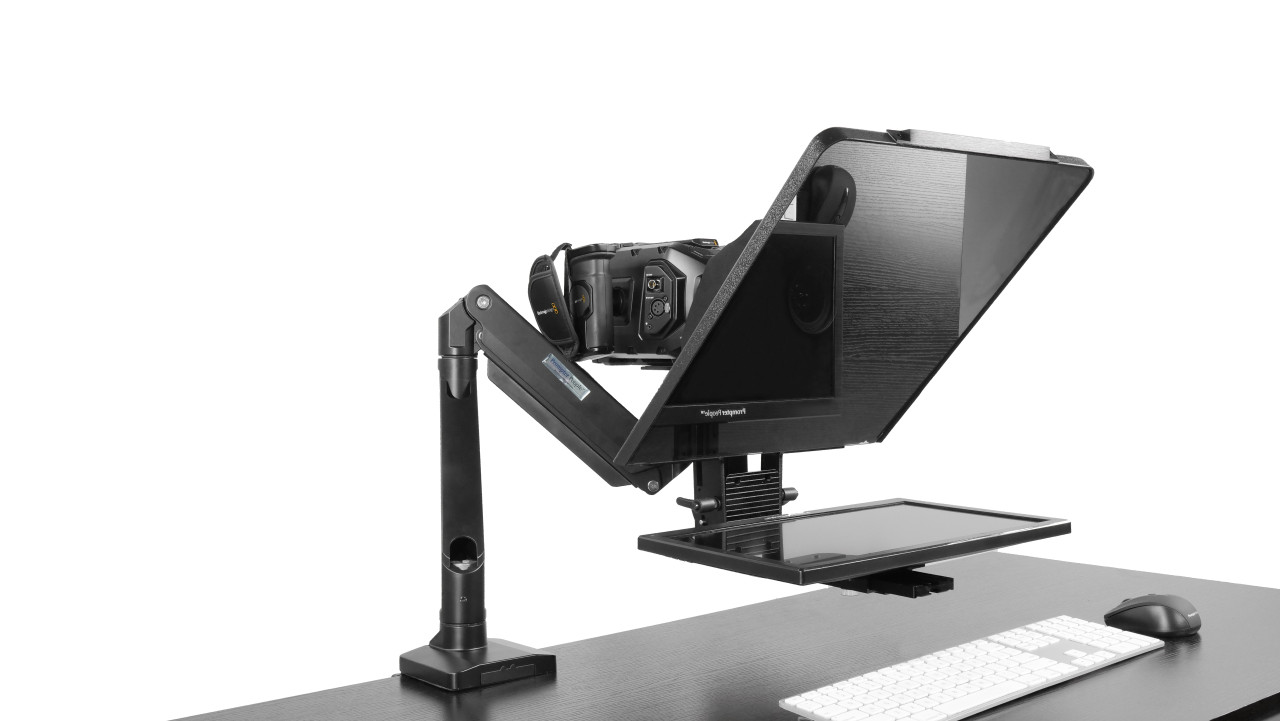"""Desktop Arm Model Teleprompter Flex Plus 15.6"""" HD-SDI and HDMI Screen PrompterPeople Setup Side Angle with Arm - Free Fly Desktop Office, work from home Teleprompter"""
