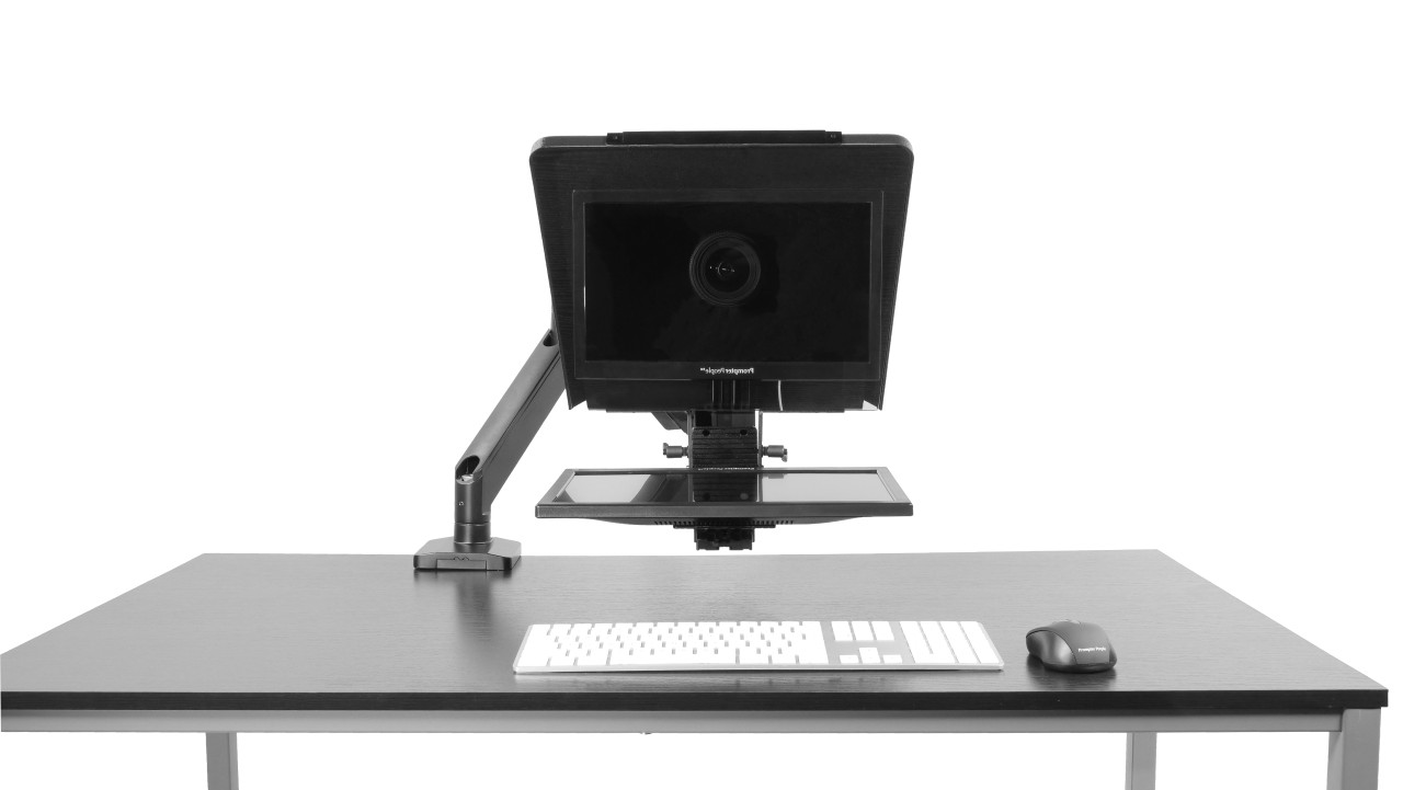 """Desktop Arm Model Teleprompter Flex Plus 15.6"""" HD-SDI and HDMI Screen PrompterPeople Setup Side Angle with Arm - Free Fly Desktop Office, work from home Teleprompter - Face"""