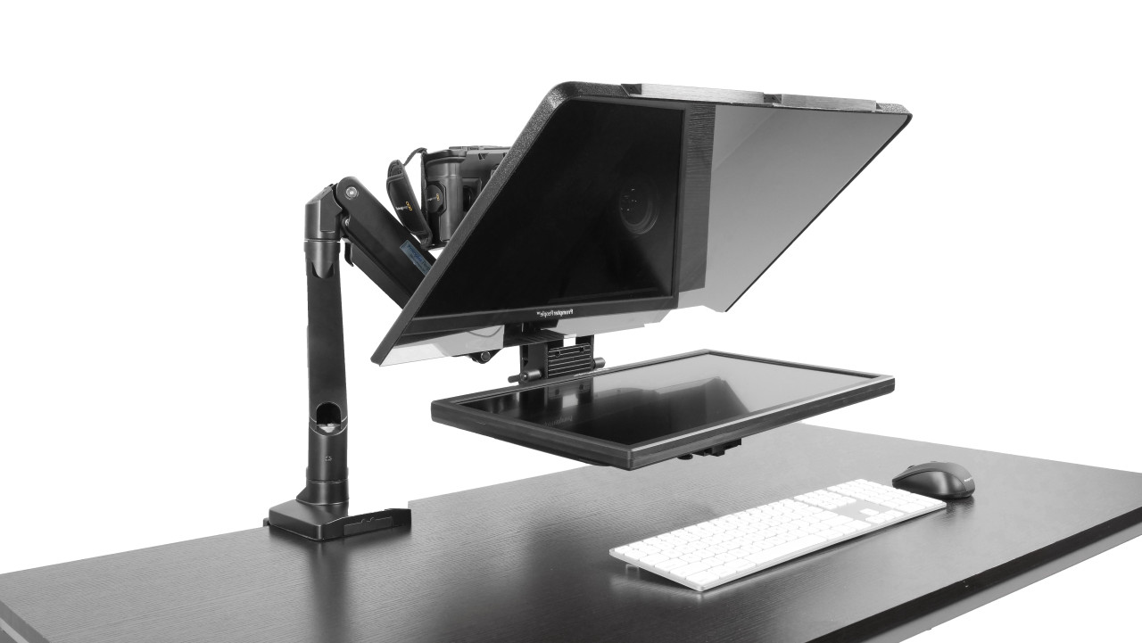 """Desktop Arm Model Teleprompter Flex Plus 22.5"""" HD-SDI and HDMI Screen PrompterPeople Setup Side Angle with Arm - Free Fly Desktop Office, work from home Teleprompter"""