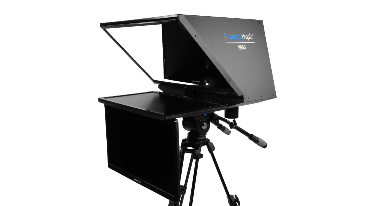 "Robo 24"" Regular PTZ Camera inside  Robotic and PTZ Camera Broadcast and Studio Teleprompter with 24"" HDMI Regular Talent Monitor - Side Angled B"