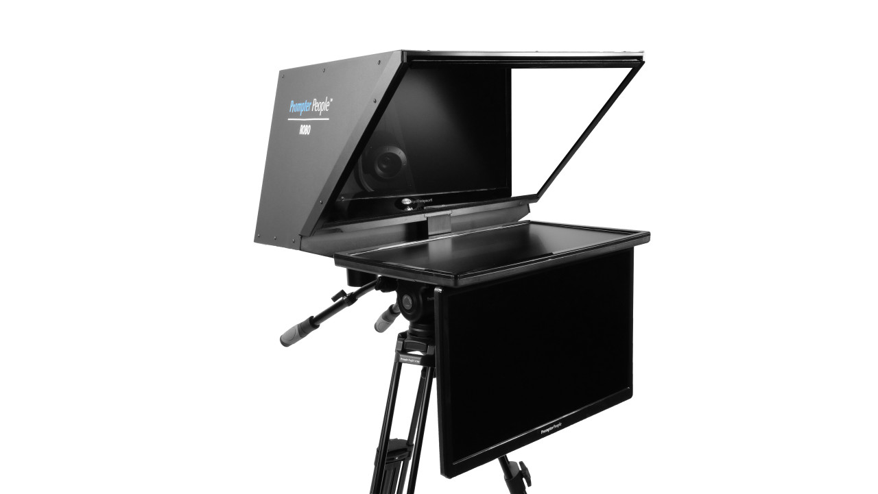 "Robo 24"" Regular PTZ Camera inside  Robotic and PTZ Camera Broadcast and Studio Teleprompter with 24"" HDMI Regular Talent Monitor - Side Angled"