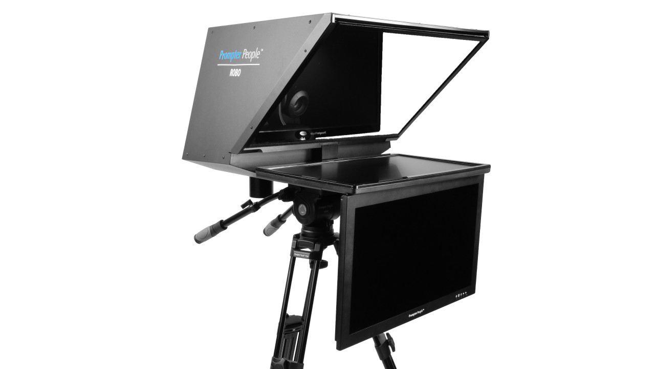 "Robo 24"" Regular PTZ Camera inside  Robotic and PTZ Camera Broadcast and Studio Teleprompter with 24"" HighBright HD-SDI Talent Monitor"