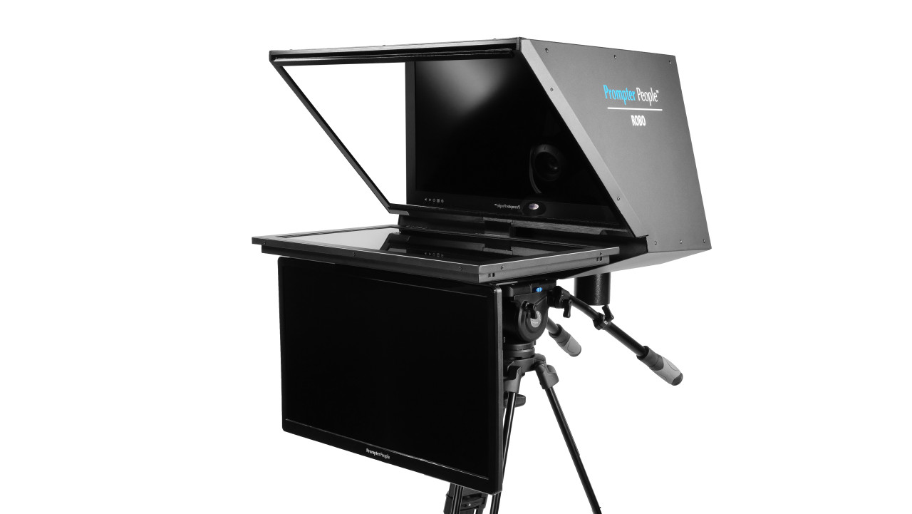 "Robo 24"" HighBright HD-SDI Monitor PTZ Camera inside  Robotic and PTZ Camera Broadcast and Studio Teleprompter with 24"" HDMI Regular Talent Monitor"