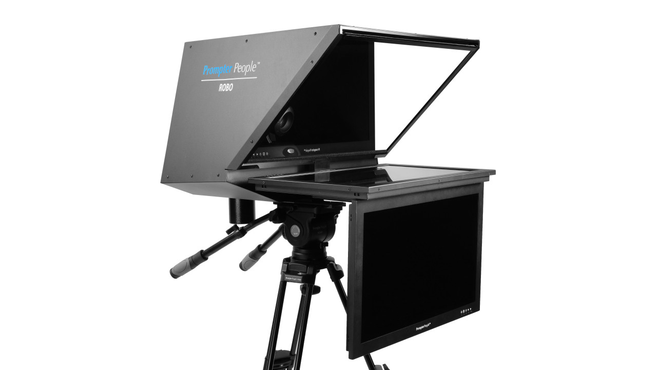 """Robo 24"""" Regular PTZ Camera inside  Robotic and PTZ Camera Broadcast and Studio Teleprompter with 24"""" HDMI Regular Talent Monitor - Side Angled B"""