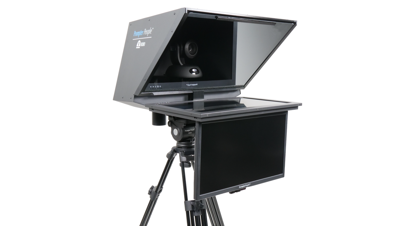 """Robo 24"""" HighBright PTZ Camera inside  Robotic and PTZ Camera Broadcast and Studio Teleprompter with 21.5"""" HD-SDI Regular Talent Monitor"""
