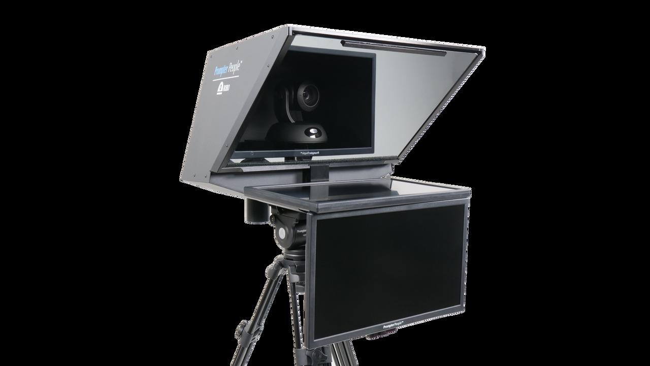 "Robo 21.5"" HD-SDI PTZ Camera inside  Robotic and PTZ Camera Broadcast and Studio Teleprompter with 21.5"" HD-SDI Regular Talent Monitor"