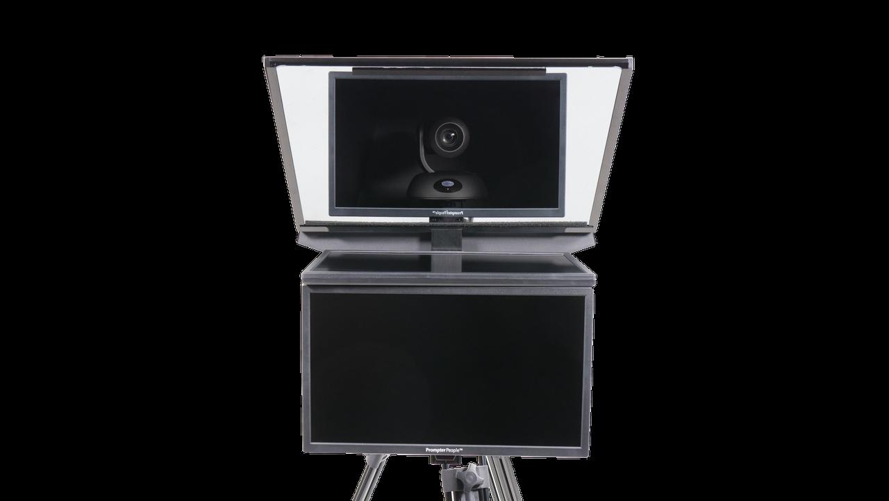 "Robo 21.5"" HD-SDI PTZ Camera inside  Robotic and PTZ Camera Broadcast and Studio Teleprompter with 21.5"" HD-SDI Regular Talent Monitor - Face"