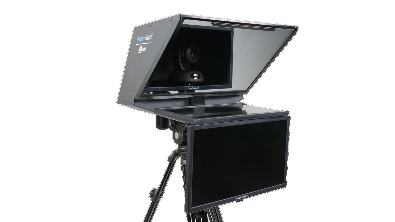 "Robo 21.5"" HD-SDI PTZ Camera inside  Robotic and PTZ Camera Broadcast and Studio Teleprompter with 24"" HDMI Regular Talent Monitor"