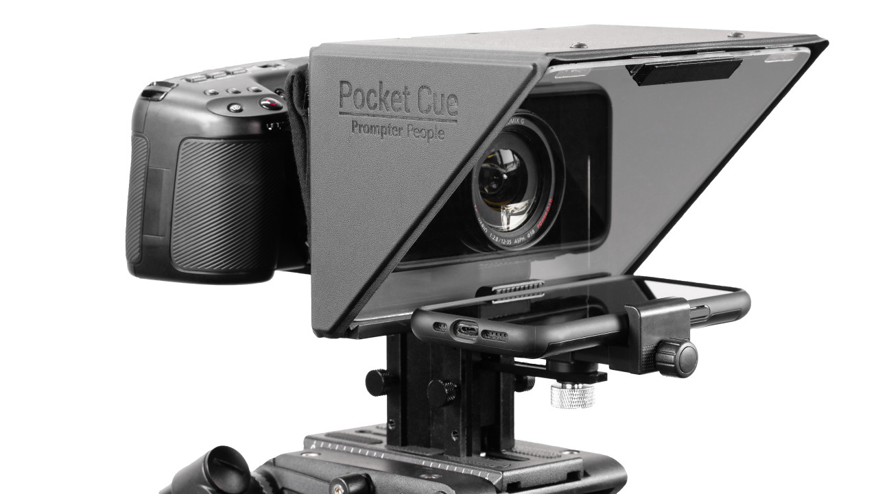 Prompter People Pocket Cue Smart Phone, iPhone, Android Phone Teleprompter - Angled
