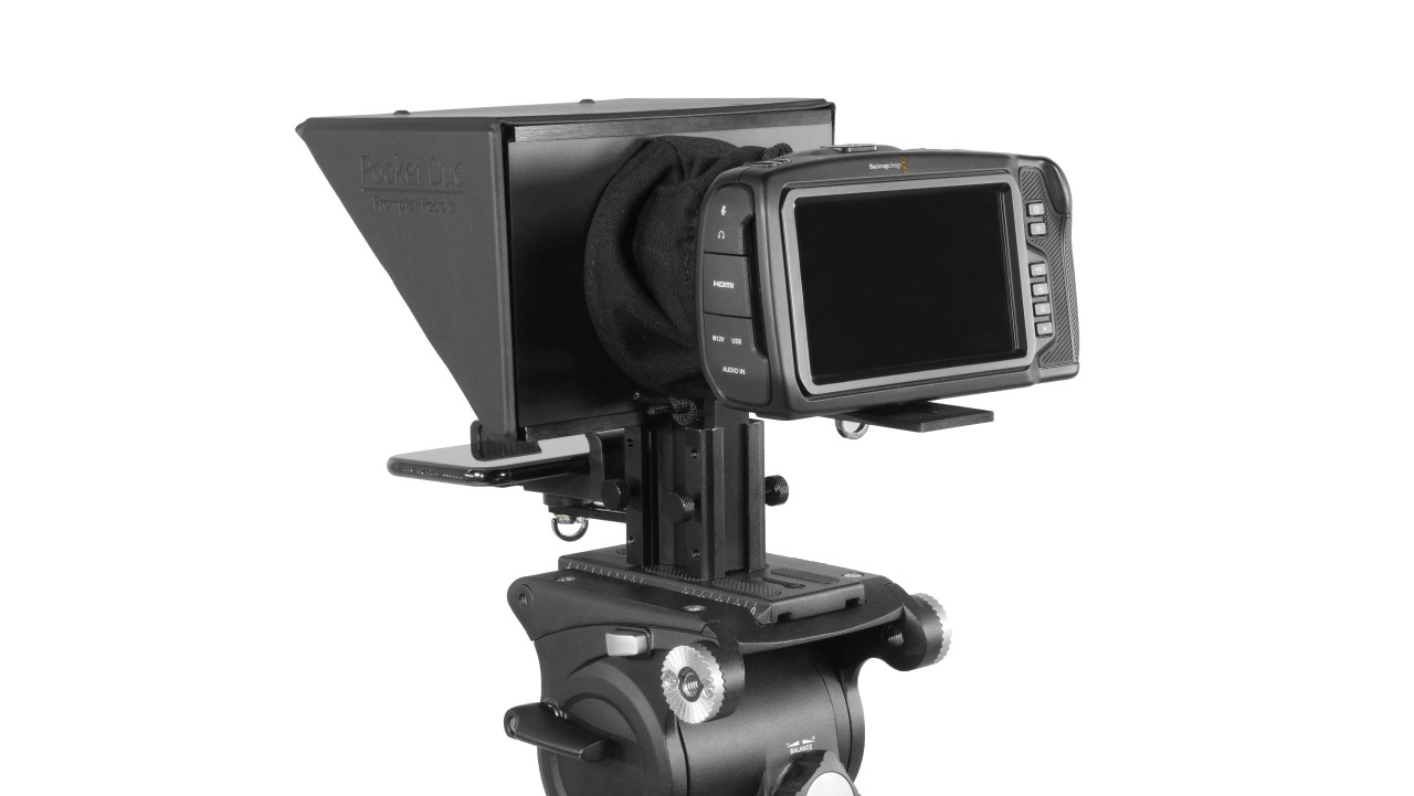 Prompter People Pocket Cue Smart Phone, iPhone, Android Phone Teleprompter - Back Angled