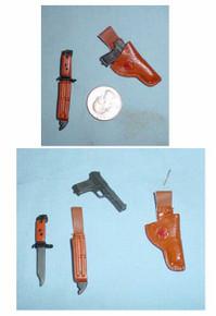 Miniature 1/6th Scale TOKAREV TT33 7.62mm Pistol & Bayonet w/sheath