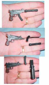 Miniature 1/6th Scale Scorpion Machine Pistol w/Silencer