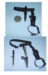 Miniature 1/6th Scale Browning 9mm Pistol, Holster, Bayonet & Belt